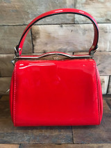 40S AND 50S CLASSIC PINUP ROCKABILLY VINTAGE INSPIRED SHINY PATENT BOX STYLE HANDBAG RED - MIDGE