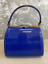40S AND 50S CLASSIC PINUP ROCKABILLY VINTAGE INSPIRED SHINY PATENT BOX STYLE HANDBAG BLUE - MIDGE