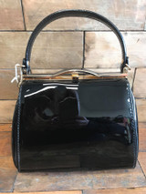 40S AND 50S CLASSIC PINUP ROCKABILLY VINTAGE INSPIRED SHINY PATENT BOX STYLE HANDBAG BLACK - MIDGE
