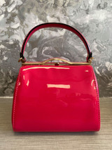 40S AND 50S CLASSIC PINUP ROCKABILLY VINTAGE INSPIRED SHINY PATENT BOX STYLE HANDBAG HOT PINK - MIDGE