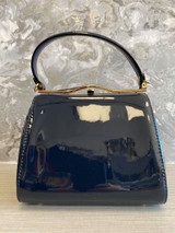 40S AND 50S CLASSIC PINUP ROCKABILLY VINTAGE INSPIRED SHINY PATENT BOX STYLE HANDBAG NAVY - MIDGE