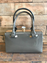 40s and 50s Classic Pinup Rockabilly Vintage Inspired Shiny Patent Box Style Handbag grey