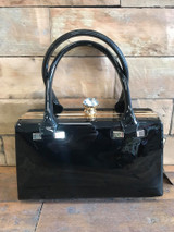 Black Patent Handbag With Crystal Clasp