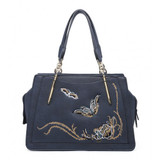 Stunning Butterfly and Flower Embroidered Handbag - Navy