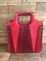 Faux Crocodile Rock N Roll V Handbag - Red
