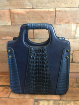 Faux Crocodile Rock N Roll V Handbag - Navy