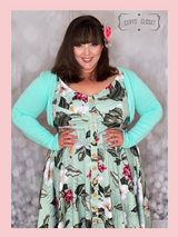 Hell Bunny Tahiti Mint Tropical Floral 50s Vintage Inspired Swing Dress at Cerys' Closet