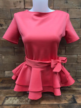 Double Peplum Top - Coral