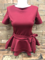 Double Peplum top Burgundy