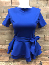 Double Peplum Top Royal Blue