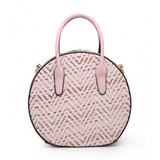 Round Woven Handbag with Glitter Threads and Detachable Shoulder Strap - Brown