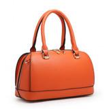 Classic Style Bowler Handbag with Detachable Shoulder Strap - Camel