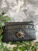 Skull Embossed Handbag with Crystal Skull Embellishment