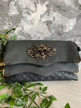 Skull and Rose Embellished Quilted Black Handbag