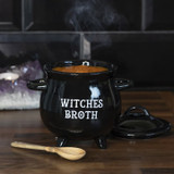 Black Cauldron Witches Broth with Broom Spoon