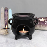 Black Cauldron Shaped Oil Burner with Star Cut Outs