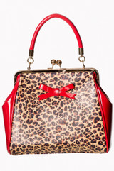 Red Patent and Leopard Print Handbag