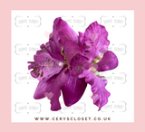 DOUBLE LILY HAIR FLOWERS WITH CROCODILE CLIP - Purple
