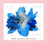Double Lily Hair Flowers with Crocodile Clip - Blue