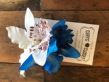 Double Lily Hair Flowers - Blue and White