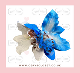 DOUBLE LILY HAIR FLOWERS WITH CROCODILE CLIP - Blue and White