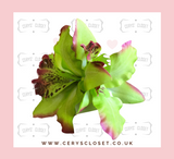 Double Lily Hair Flowers with Crocodile Clip  - Green