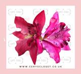 DOUBLE LILY HAIR FLOWERS WITH CROCODILE CLIP - Hot Pink