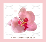 Single Flower Hair Orchid with Crocodile Clip - Light Pink