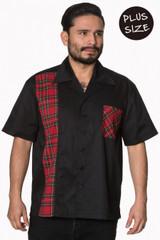 Mens Short Sleeve Black and Tartan Shirt