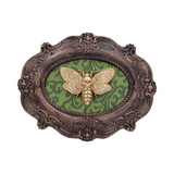 Ornate Oval Baroque Frame with Mounted Gold Resin Death Head Moth Approx 22.3cm