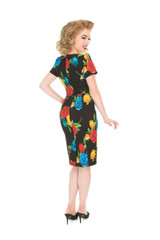 50s Vintage Inspired Vibrant Rose Rockabilly Wiggle Dress