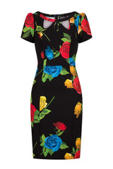 50s Vintage Inspired Vibrant Rose Rockabilly Wiggle Dress
