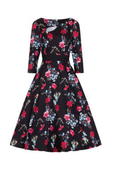 50s Vintage Inspired Blue Red and Pink Floral Swing Dress with 3/4 Sleeves - Yasmin by Hearts and roses london