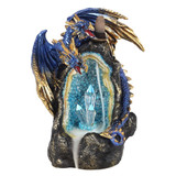 Backflow Incense Burner - Blue Glowing Dragon Crystal Cave with LED Light