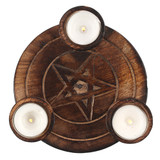 Wooden Pentagram Embellished Tealight Candle Holder