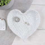 White Glitter Angel Wing Heart Shaped Trinket Jewellery Dish For Dressing Table