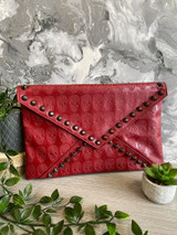 Skull Embossed and Studded Envelope Clutch Bag - Red