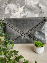 Skull Embossed and Studded Envelope Clutch Bag - Grey