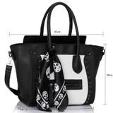 Skull Studded Tote Bag - Black and White