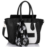 Skull Studded Tote Bag - Black and White
