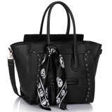 Skull Studded Tote Bag - Black
