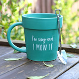 I'm Sexy and I Mow It Mug and Silver Shovel Spoon Set