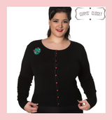 Black Scoop Neck Cardigan With Embroidered Cactus Skull Embellishments