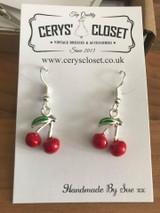 Enamel Cherry Silver Earrings