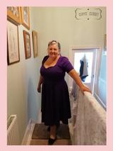 50s Vintage Inspired Vera Sweet Heart Swing Dress by Cerys' Closet in Purple