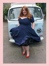 50s Vintage Inspired Vera Sweet Heart Swing Dress by Cerys' Closet in Navy