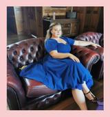 50s Vintage Inspired Vera Sweet Heart Swing Dress by Cerys' Closet in Blue
