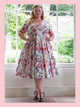 LIMITED EDITION PRINT 50s Vintage Inspired Vera Sweet Heart Swing Dress by Cerys' Closet in Floral