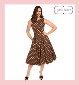 50s Vintage Inspired Brown and White Polka Dot Pretty Woman Audrey Neckline Sleeveless Swing Dress. Hearts and Roses Dress at Cerys' Closet