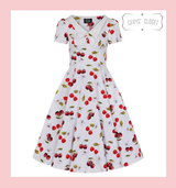 Hearts and Roses London  White Cherry Print V Neck 50s Pinup Rockabilly Swing Dress with Cap Sleeves and Collar at Cerys' Closet